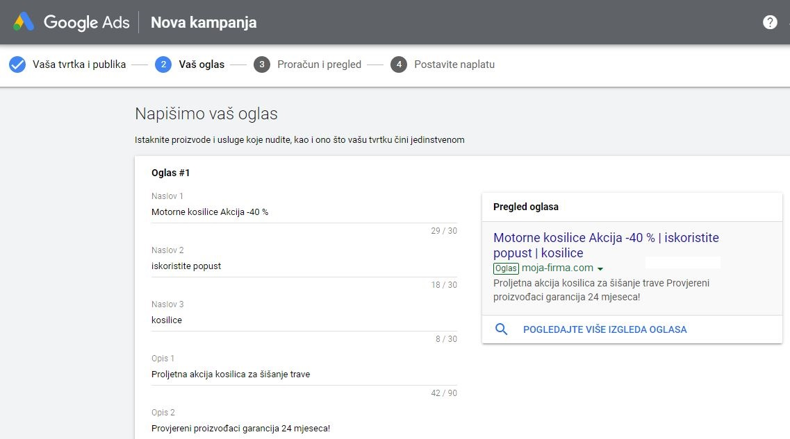 Google ad postavljanje oglasa