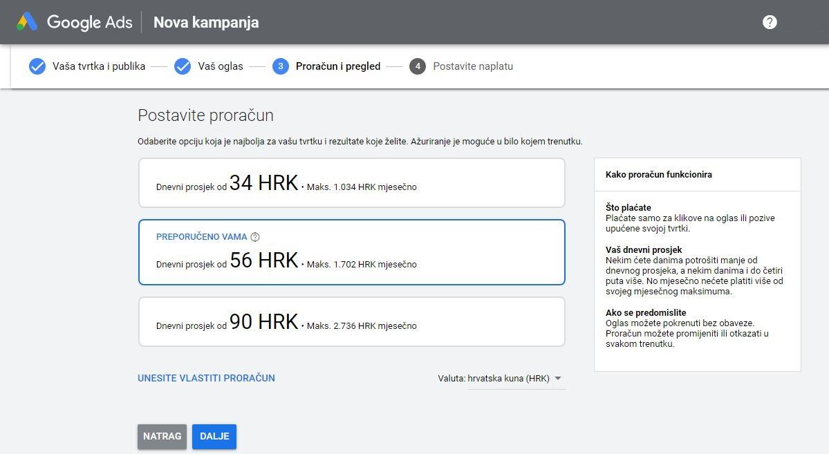 Google ad postavljanje proračuna