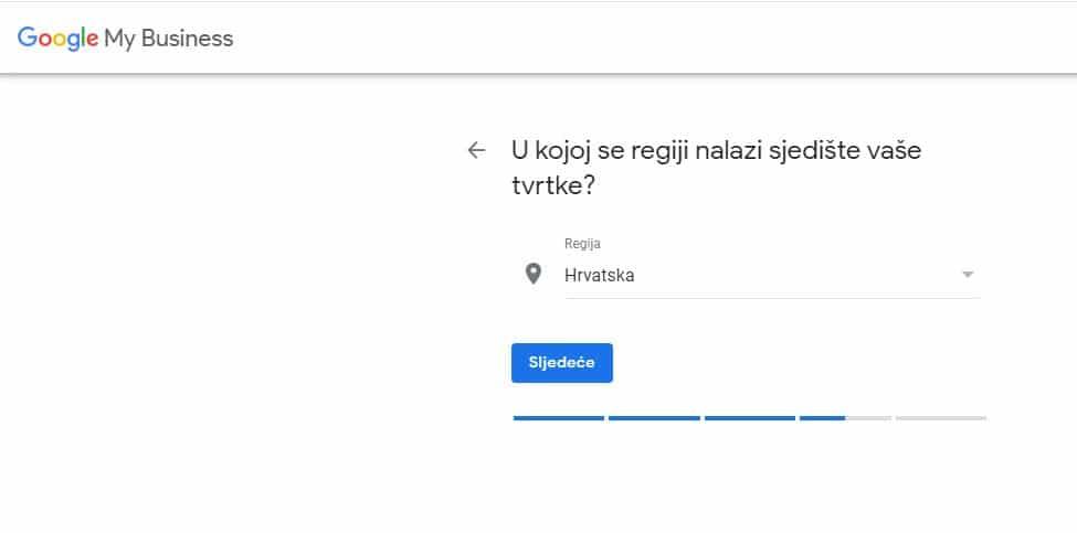 Google My business unos regije