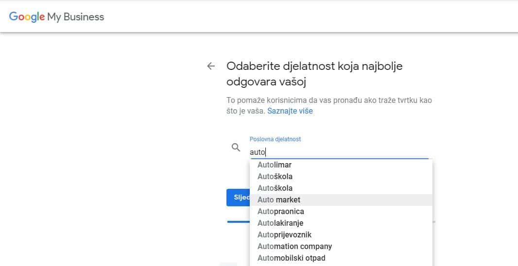 Google My Business djelatnost GMB_04