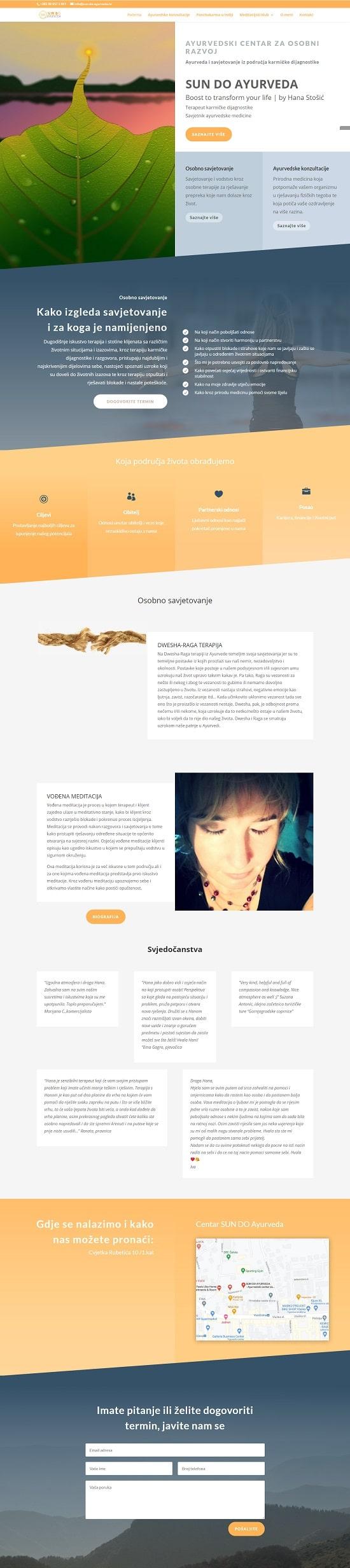 Lav izrada web stranica - portfolio - sun do ayurveda